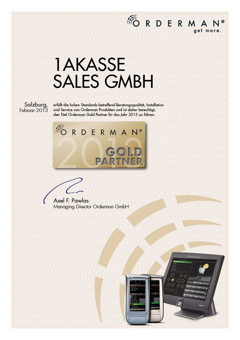 Orderman Gold Zertifikat